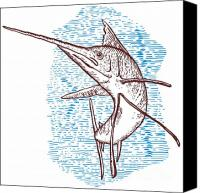 Fish Jumping Canvas Prints - Marlin Woodcut Canvas Print by Aloysius Patrimonio