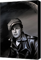 Portrait Pyrography Canvas Prints - Marlon Brando  Canvas Print by Andrzej  Szczerski