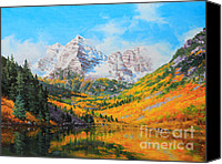 Framed Fine Art  Canvas Prints - Maroon Bells Canvas Print by Gary Kim