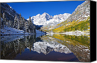Winter Canvas Prints - Maroon Lake and Bells 1 Canvas Print by Ron Dahlquist - Printscapes