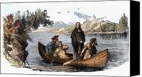 Indian Canoe Canvas Prints - Marquette & Jolliet, 1673 Canvas Print by Granger