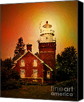 Marquette Digital Art Canvas Prints - Marquette Michigan Lighthouse Canvas Print by Judy Brand