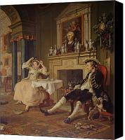 Hogarth; William (1697-1764) Canvas Prints - Marriage a la Mode II The Tete a Tete Canvas Print by William Hogarth