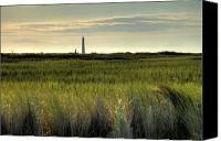 Morris Island Light House Morning Folly Beach Lowcountry South Carolina Landscape Grass Beach Hdr Canvas Prints - Marsh Grass and Morris Island Lighthouse Canvas Print by Dustin K Ryan