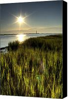 Morris Island Light House Morning Folly Beach Lowcountry South Carolina Landscape Grass Beach Hdr Canvas Prints - Marsh Grass Sunrise Canvas Print by Dustin K Ryan