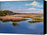 Landscape Pastels Canvas Prints - Marshland in Florida Canvas Print by Susan Jenkins