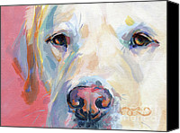 Pet Portrait Canvas Prints - Marthas Pink Nose Canvas Print by Kimberly Santini