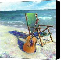 Guitar Painting Canvas Prints - Martin Goes to the Beach Canvas Print by Andrew King