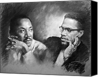 Malcolm X Canvas Prints - Martin Luther King Jr and Malcolm X Canvas Print by Ylli Haruni