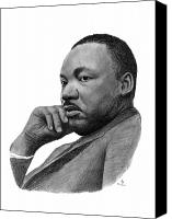 Leader Drawings Canvas Prints - Martin Luther King Jr Canvas Print by Charles Vogan