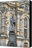Frauenkirche Canvas Prints - Martin Luther Monument Dresden Canvas Print by Christine Till