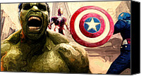 Captain America Canvas Prints - Marvel Avengers Hulk Movie Art Signed Prints available at laartwork.com Coupon Code KODAK Canvas Print by Leon Jimenez