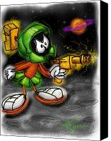 Extraterrestrial Canvas Prints - Marvin the Martian Canvas Print by Russell Pierce