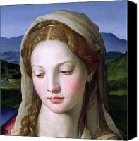 Virgin Mary Painting Canvas Prints - Mary Canvas Print by Agnolo Bronzino