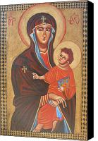 Byzantine Icon Canvas Prints - Mary Help of the Romans Canvas Print by Joseph Malham