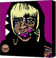 Popstract Canvas Prints - Mary J Blige full color Canvas Print by Kamoni Khem