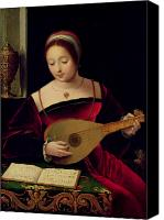 Jewellery Canvas Prints - Mary Magdalene Playing the Lute Canvas Print by Master of the Female Half Lengths