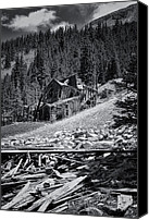 Ruin Canvas Prints - Mary Murphy Mine B and W Canvas Print by Ellen Lacey