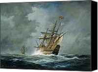 Navy Canvas Prints - Mary Rose  Canvas Print by Richard Willis