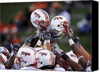 Md Canvas Prints - Maryland Football Helmets Canvas Print by Maryland Athletics