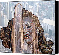 Marylin Canvas Prints - MARYLIN and city Canvas Print by Yury Bashkin