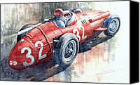 Racing Car Canvas Prints - Maserati 250F J M Fangio Monaco GP 1957 Canvas Print by Yuriy  Shevchuk