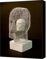 Wire Sculpture Canvas Prints - Mask Canvas Print by Gary Kaemmer
