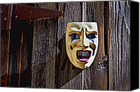 Rusty Door Canvas Prints - Mask on barn door Canvas Print by Garry Gay