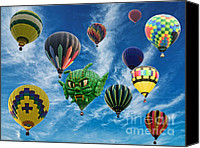Balloon Festival Canvas Prints - Mass Hot Air Balloon Launch Canvas Print by Paul Ward
