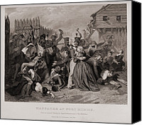 Civilians Canvas Prints - Massacre At Fort Minns. On August 30 Canvas Print by Everett
