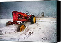 Snow Canvas Prints - Massey Harris Mustang Canvas Print by Bob Orsillo