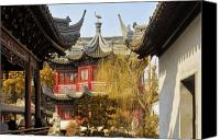Pavilion Canvas Prints - Massive upturned eaves - Yuyuan Garden Shanghai China Canvas Print by Christine Till