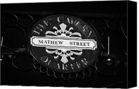 Cavern Canvas Prints - Mathew Street Sign In The Cavern Quarter In Liverpool City Centre Birthplace Of The Beatles Canvas Print by Joe Fox