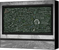 Black Pastels Canvas Prints - Maths Formula On Chalkboard Canvas Print by Setsiri Silapasuwanchai