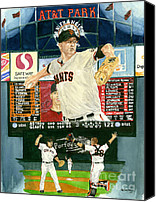 San Francisco Giants Painting Canvas Prints - Matt Cain Perfect Night Canvas Print by George  Brooks