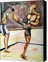 Ultimate Fighting Championship Mixed Media Canvas Prints - Matt hughes vs.Georges St-Pierre Canvas Print by Michael Cook