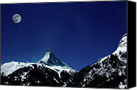 Swiss Canvas Prints - Matterhorn Switzerland Blue Hour Canvas Print by Maria Swärd