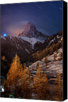 Swiss Canvas Prints - Matterhorn With Star Trail Canvas Print by Coolbiere Photograph