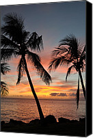 Lahaina Canvas Prints - Maui Sunset Palms Canvas Print by Kelly Wade