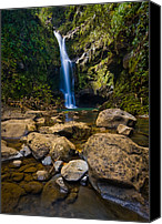 Waterfalls Canvas Prints - Maui Waterfall Canvas Print by Adam Romanowicz