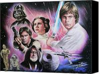 Drawings Canvas Prints - May The Force Be With You Canvas Print by Andrew Read