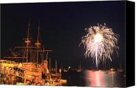 Independence Day Canvas Prints - Mayflower II Fireworks Canvas Print by John Burk