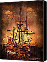 Wooden Boat Canvas Prints - Mayflower II Canvas Print by Lourry Legarde