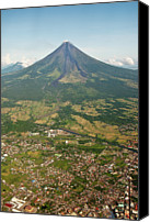 Mountain Scene Canvas Prints - Mayon Volcano And Legazpi City Canvas Print by Kay Dulay