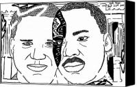 Caricature Mixed Media Canvas Prints - Maze cartoon of MLK and Glenn Beck at Lincoln Memorial Canvas Print by Yonatan Frimer Maze Artist