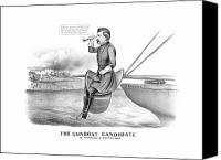 United States Drawings Canvas Prints - McClellan The Gunboat Candidate Canvas Print by War Is Hell Store