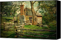 Log Cabin Canvas Prints - McCormick Grist Mill Canvas Print by Kathy Jennings