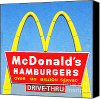 Diners Canvas Prints - McDonalds Hamburgers . Over 99 Billion Served Canvas Print by Wingsdomain Art and Photography