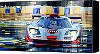 Racing Car Canvas Prints - McLaren BMW F1 GTR Gulf Team Davidoff Le Mans 1997 Canvas Print by Yuriy  Shevchuk