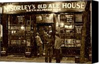 Snow Canvas Prints - McSorleys Old Ale House Canvas Print by Randy Aveille